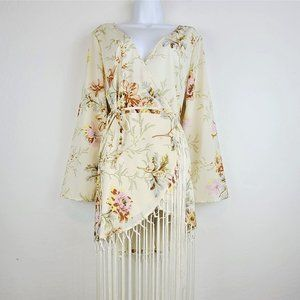 ASOS Wrap Dress 8 Long Sleeve Ivory Floral Fringe